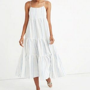 Madewell Linen Cami Tier Striped Midi Dress